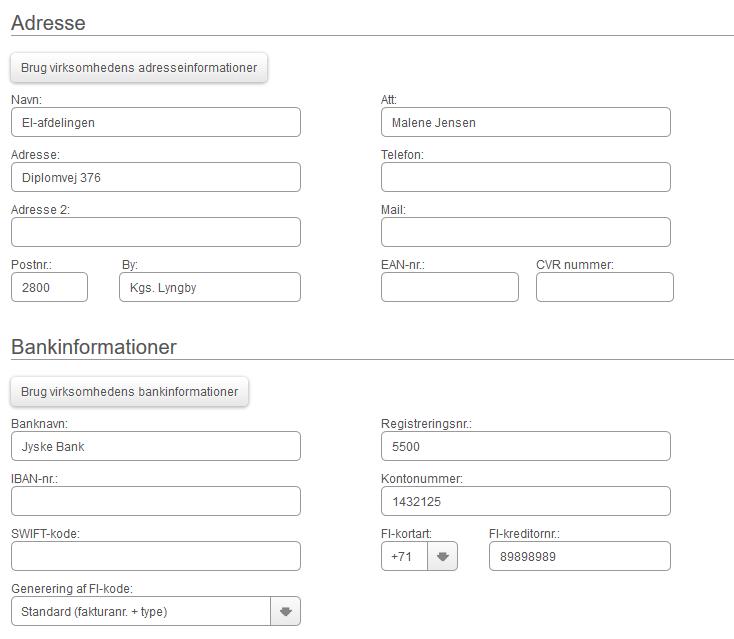 Adresse og bankinformationer på afdelinger
