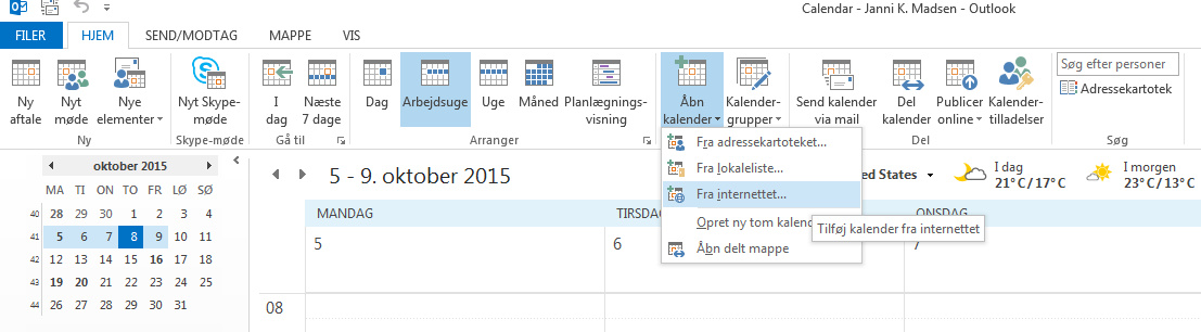 Synkronisering med Outlook kalender