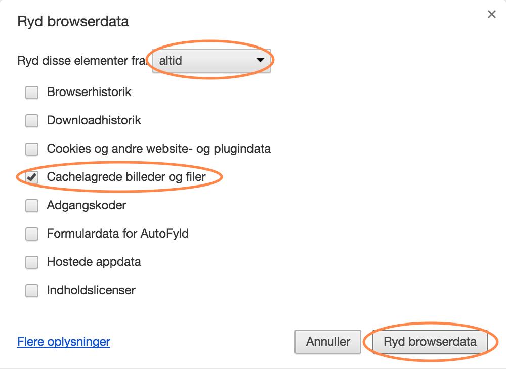 Ryd Cache i Google Chrome på Mac