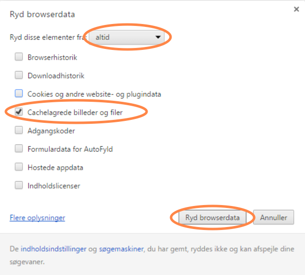 ryd cache i google chrome på Windows