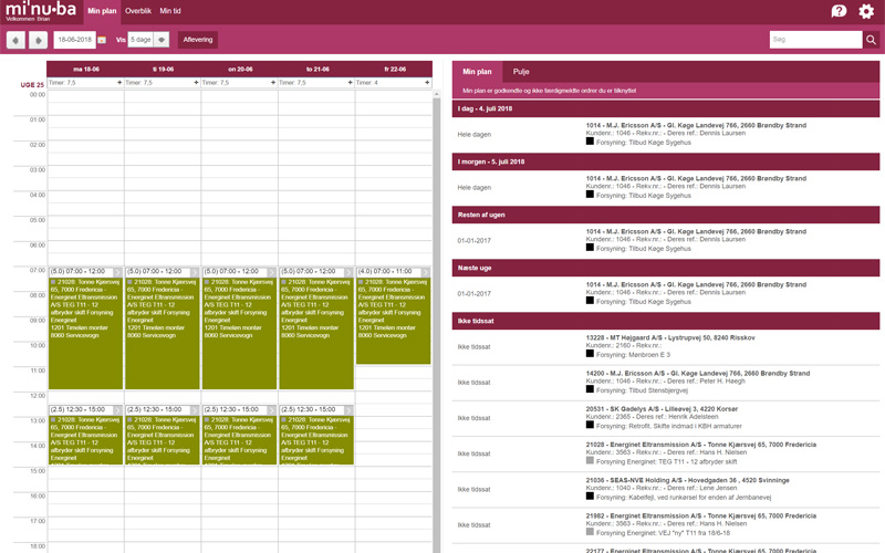 Ordrestyring - Min plan