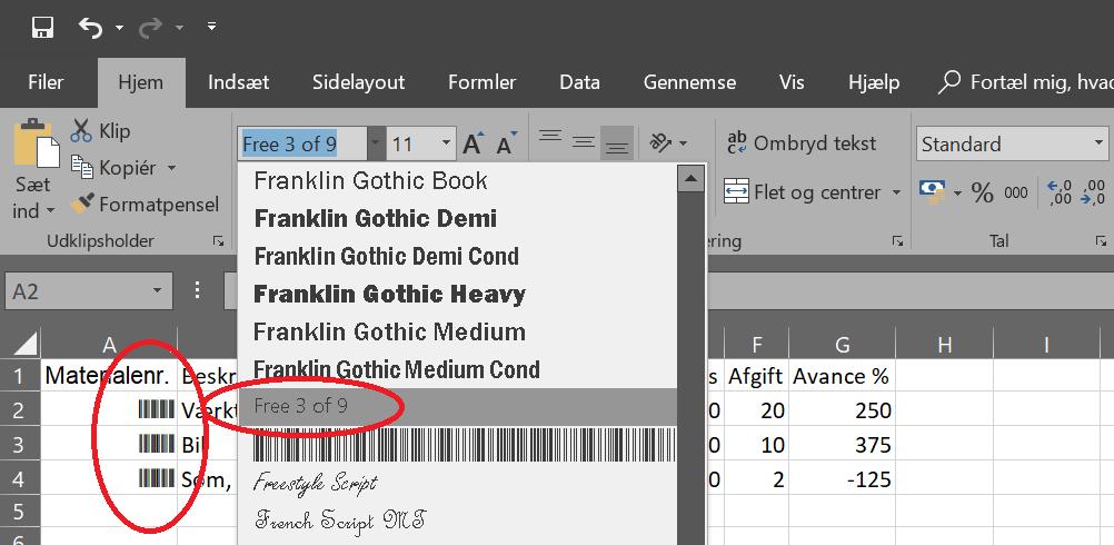 Ændre font til barcode