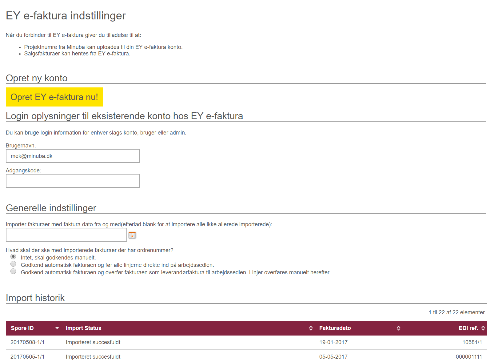 EY e-faktura indstillinger i Minuba
