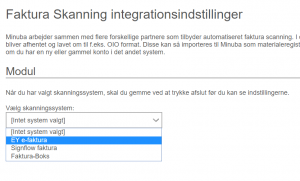 Faktura modul - vælg EY e-faktura