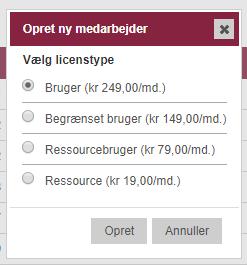 Licens opret bruger Minuba