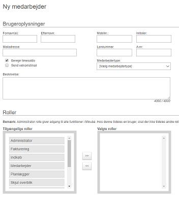 Opret ny bruger - medarbejder oplysninger