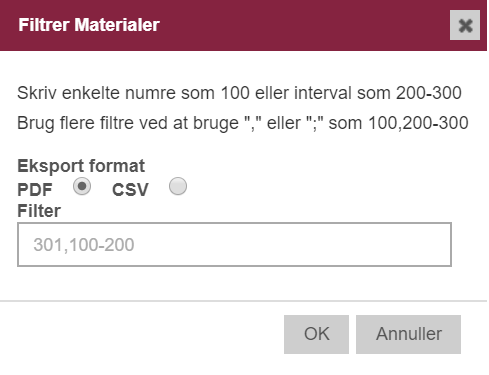 Eksport af egne materialer - vælg pdf eller csv