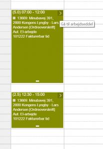Kalender registrering link til arbejdsseddel