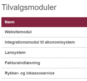 Tilvalgsmoduler: Websitemodulet i Minuba