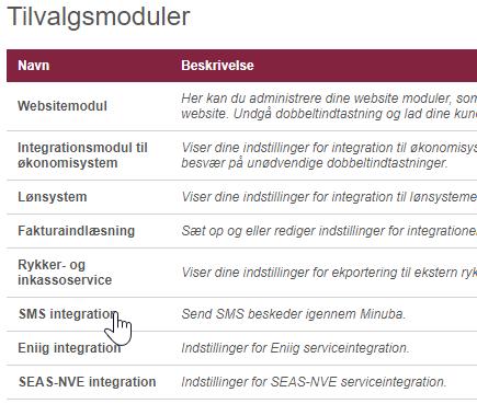 Inde i administrationsmenuen, under tilvalgsmoduler kan du finde indstillingerne for at opsætte SMS integraitonen