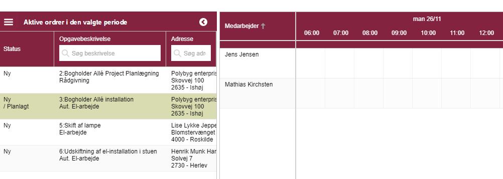 Nuværende aktive ordre kan ses i planlægningsfanen