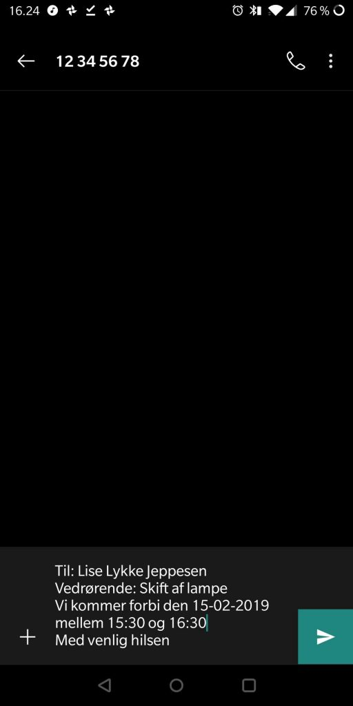 Et eksempel på en SMS skabelon på android