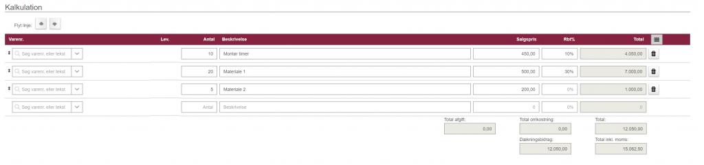 Kalkulationslinjer på et tilbud eller en ordre i Minuba