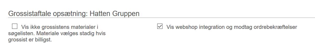 Webshop integration opsætning af grossistaftaler