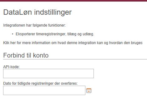 Indstillinger i Dataløn integration