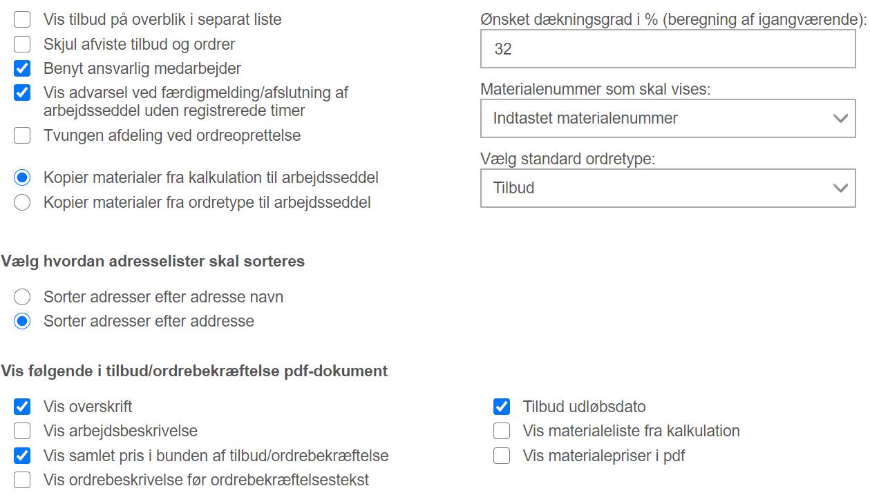 Virksomhedsindstillinger: indstillinger for tilbud og ordre