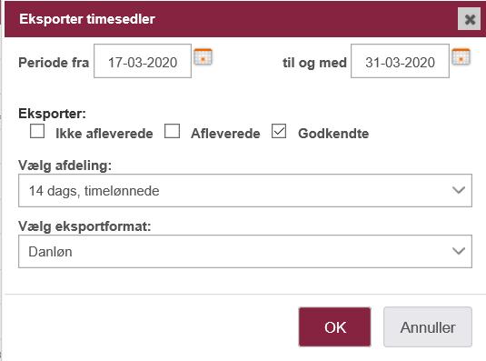 Danløn integration: Eksporter timesedler