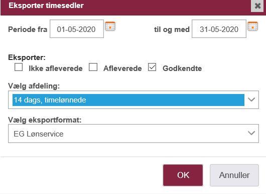 EG Lønservice integration: Eksporter timesedler